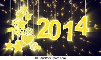 jaar, versiering, 2014, nieuw, glanzend, lus
