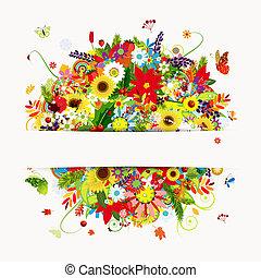 jaargetijden, kaart, floral boeket, cadeau, vier, ontwerp