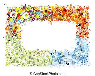jaargetijden, lente, winter., -, herfst, zomer, vier, frame