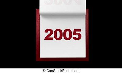 jaarlijks, calen, witte , draaien, pagina's
