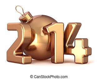 jaarwisseling, 2014, bauble, kerstmis bal