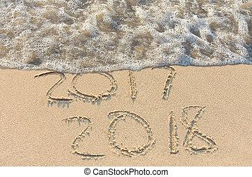 jaarwisseling, 2018, tekst, op, strand