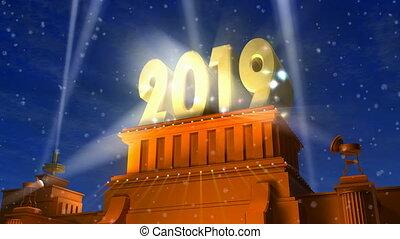 jaarwisseling, 2019, vakantie, viering, concept