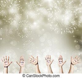 jaarwisseling, concept, met, geverfde, hand, vieren
