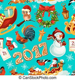 jaarwisseling, en, kerstmis, feestdagen, seamless, model