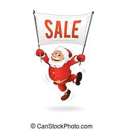 jaarwisseling, sale., vrolijke , kerstman, met, meldingsbord
