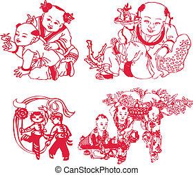 jaarwisseling, spelend, chinees, kinderen