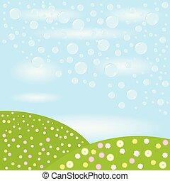 jabón burbujea, fondo., vector, ilustración