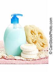jabón, y, loofah