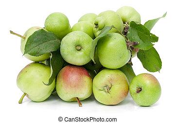 jabłka, jadło, zielony, zdrowy