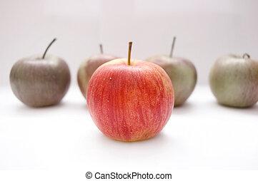 jabłka, konceptualny, image.