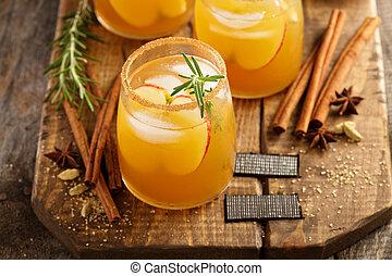 jabłko, cocktail, twardy, jabłecznik, upadek, przyprawy