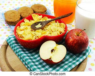 jabłko, cornflake, ognisko, rano, selekcyjny, świeży, ...