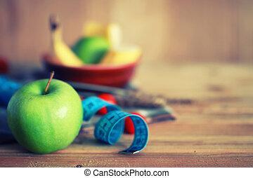 jabłko, drewniany, dieta, owoc, tło, centymetr