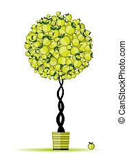 jabłko, energia, drzewo, twój, projektować, garnek