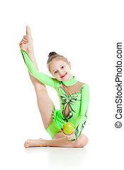 jabłko, gimnastyk, na, młody, tło, dziewczyna, biały