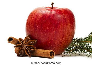 jabłko, gwiazda anyż, cynamonowe pałki, i, niejaki, gałąź, na białym, tło