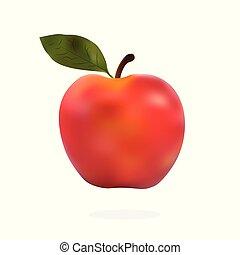 jabłko, liście, odizolowany, tło., wektor, zieleń biała, czerwony, illustration.