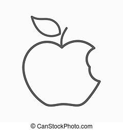 jabłko, linearny, ikona