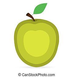 jabłko, na, niejaki, białe tło