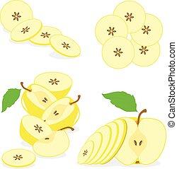 jabłko szatkuje, zbiór, wektor, tło, ilustracje, przeźroczysty