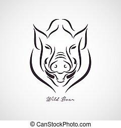 jabalí, vector, logotipo