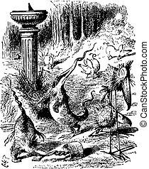 jabberwocky, gravure, quel, là, -, alice, regarder verre, livre, par, trouvé, original, créatures
