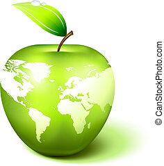 jablko, koule, s, mapa světa