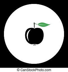 jablko, ovoce, jednoduchý, černoši i kdy, nezkušený, ikona, eps10