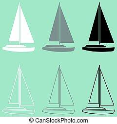 jacht, biały, czarnoskóry, szary, icon.