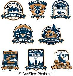 jacht, club, icons., buitene avontuur, emblems