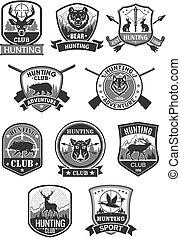 jacht, club, jacht, avontuur, vector, iconen, set
