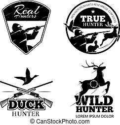 jacht, club, vector, etiketten, en, emblems, set