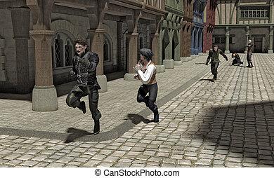 jacht, door, een, middeleeuws, straat