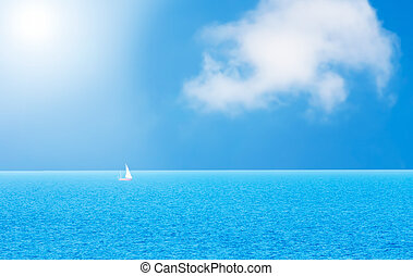 jacht, i błękitny, woda ocean