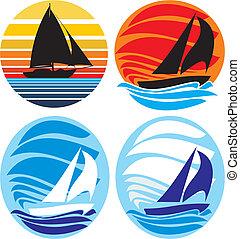 jacht, i, nawigacja, -, morze, i, zachód słońca