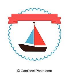jacht, játékszer, határ, címke