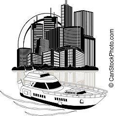 jacht, luxe, wolkenkrabbers