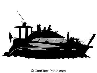 jacht, motor, cirkálás