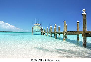 jacht, op, de, houten, jetty., exuma, bahamas