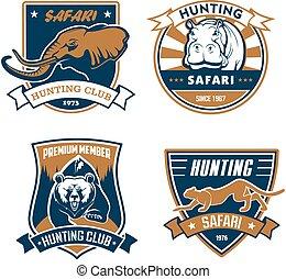 jacht, safari, club, vector, iconen, jager, emblems