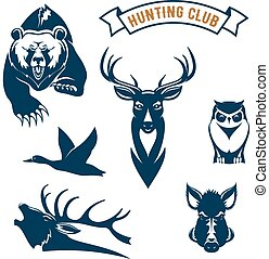 jacht, sportende, club, vector, dieren, iconen