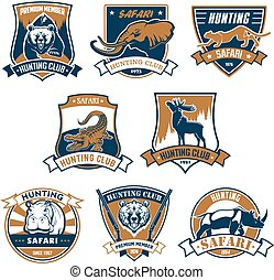 jacht, sportende, club, vector, iconen, emblems, set