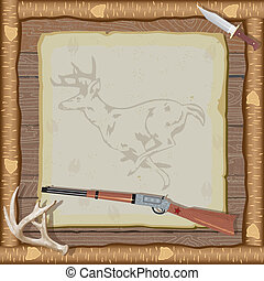 jacht, uitnodiging, met, houten kader