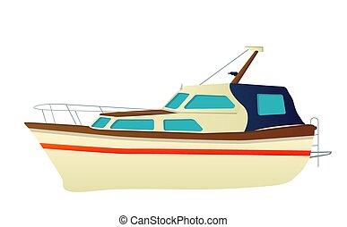 jacht, vektor, halad hajózik
