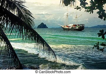 jacht, vitorlázás, alatt, paradicsom öböl