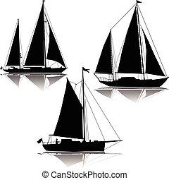 jacht, vitorlázás, három