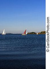 jacht, vitorlázás, képben látható, tó