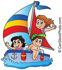 jachta, s, tři, děti