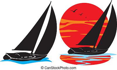 jachtboten, silhouette, -, onder, zeil